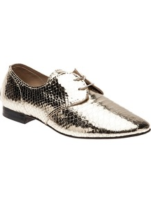 Lace Up Shoe - predominant colour: gold; occasions: casual, evening, work; material: leather; heel height: flat; toe: round toe; style: brogues; trends: metallics; finish: plain; pattern: animal print