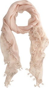 Nude Lace Scarf - predominant colour: nude; occasions: casual, evening, work, occasion, holiday; type of pattern: light; style: regular; size: standard; material: lace; embellishment: tassels; pattern: plain