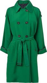 Women's Db Stitch Detail Mac, Green - pattern: plain; style: mac; fit: slim fit; length: mid thigh; predominant colour: emerald green; occasions: casual, evening, work, occasion; fibres: linen - mix; collar: shirt collar/peter pan/zip with opening; waist detail: belted waist/tie at waist/drawstring; shoulder detail: discreet epaulette; sleeve length: 3/4 length; sleeve style: standard; texture group: cotton feel fabrics; collar break: high/illusion of break when open; pattern type: fabric; pattern size: standard