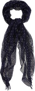 Metallic Spot Scarf, Navy - predominant colour: navy; occasions: casual, evening, work; type of pattern: light; style: regular; size: standard; embellishment: fringing; pattern: polka dot; material: tulle/sheer