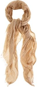 Metallic Spot Scarf, Pink - predominant colour: blush; occasions: casual, evening, work; type of pattern: light; style: regular; size: standard; material: fabric; embellishment: fringing; pattern: polka dot