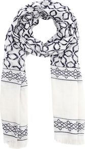 Tile Print Scarf, Neutral - predominant colour: white; occasions: casual, work; type of pattern: standard; style: regular; size: standard; material: fabric; pattern: patterned/print