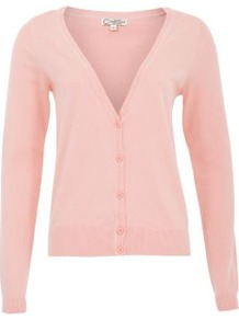 Pink Basic V Neck Cardigan - neckline: plunge; pattern: plain; predominant colour: blush; occasions: casual; length: standard; style: standard; fibres: cotton - mix; fit: standard fit; sleeve length: long sleeve; sleeve style: standard; texture group: knits/crochet; pattern type: knitted - fine stitch