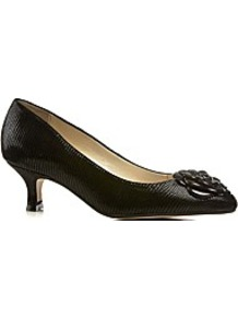 Elveden Womens Dressy Court Shoe - predominant colour: black; occasions: work; material: leather; heel height: mid; heel: kitten; toe: pointed toe; style: courts; finish: plain; pattern: plain; embellishment: corsage