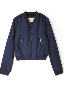 Navy Silk Bomber Jackets - pattern: plain; collar: round collar/collarless; style: bomber; predominant colour: navy; occasions: casual, work; length: standard; fit: straight cut (boxy); fibres: silk - mix; sleeve length: long sleeve; sleeve style: standard; texture group: silky - light; trends: sporty redux; collar break: high; pattern type: fabric; pattern size: standard