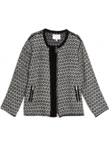 Diddley Knitted Jacket With Contrast Trim - collar: round collar/collarless; style: boxy; predominant colour: black; occasions: casual, work; length: standard; fit: straight cut (boxy); fibres: cotton - mix; sleeve length: long sleeve; sleeve style: standard; texture group: knits/crochet; collar break: high/illusion of break when open; pattern type: fabric; pattern size: small & busy; pattern: patterned/print