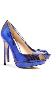 Amazonite Metallic Peep Toe Platform Shoes - predominant colour: royal blue; occasions: evening, occasion; material: leather; heel: stiletto; toe: open toe/peeptoe; style: courts; trends: metallics; finish: metallic; pattern: animal print; heel height: very high