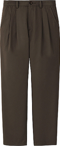 Women Colour Cropped Trousers 36 Brown - pattern: plain; waist: mid/regular rise; predominant colour: chocolate brown; occasions: casual, evening, work; length: ankle length; fibres: cotton - mix; hip detail: front pleats at hip level; waist detail: narrow waistband; texture group: cotton feel fabrics; fit: straight leg; pattern type: fabric; pattern size: standard; style: standard