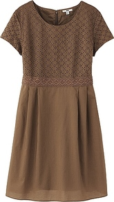 Women Lace Short Sleeve Dress 34 Brown - neckline: round neck; pattern: plain; predominant colour: chocolate brown; occasions: casual, holiday; length: just above the knee; fit: fitted at waist &amp; bust; style: fit &amp; flare; fibres: cotton - 100%; bust detail: contrast pattern/fabric/detail at bust; sleeve length: short sleeve; sleeve style: standard; texture group: sheer fabrics/chiffon/organza etc.; pattern type: fabric; pattern size: standard