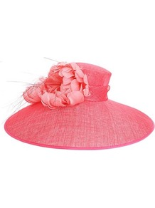 Feather Corsage Hat - predominant colour: pink; occasions: evening, occasion; type of pattern: standard; style: wide brimmed; size: large; material: sinamay; pattern: plain; embellishment: corsage
