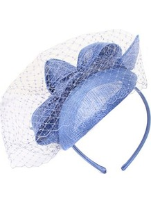 Structured Bow Pill Box Fascinator - predominant colour: denim; occasions: evening, occasion; type of pattern: light; style: fascinator; size: standard; material: macrame/raffia/straw; embellishment: bow; pattern: plain