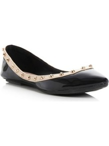 Black Synthetic Patent Melony Stud Trim Pointed Toe Ballerina - predominant colour: black; occasions: casual, evening, work; material: faux leather; heel height: flat; embellishment: studs; toe: pointed toe; style: ballerinas / pumps; finish: patent; pattern: plain