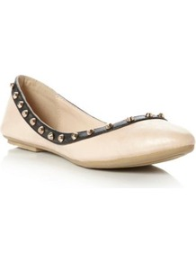 Nude Plain Synthetic Melony Stud Trim Pointed Toe Ballerina - predominant colour: nude; occasions: casual, evening, work; material: faux leather; heel height: flat; embellishment: studs; toe: pointed toe; style: ballerinas / pumps; finish: patent; pattern: plain