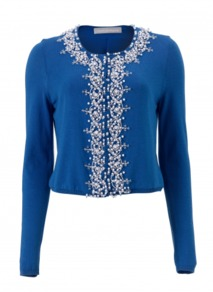 Leonora Cardigan - neckline: round neck; pattern: plain; bust detail: added detail/embellishment at bust; length: cropped; predominant colour: royal blue; occasions: casual, evening, occasion; style: standard; fibres: cotton - mix; fit: standard fit; sleeve length: long sleeve; sleeve style: standard; texture group: knits/crochet; pattern type: fabric; pattern size: small & light; embellishment: beading