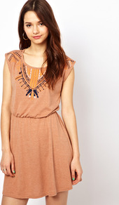 Short Embroidered Dress - style: t-shirt; length: mid thigh; neckline: round neck; sleeve style: capped; fit: fitted at waist; bust detail: added detail/embellishment at bust; waist detail: fitted waist; predominant colour: coral; occasions: casual; fibres: polyester/polyamide - mix; hip detail: soft pleats at hip/draping at hip/flared at hip; sleeve length: short sleeve; texture group: jersey - clingy; pattern type: fabric; pattern size: small & busy; pattern: patterned/print; embellishment: embroidered