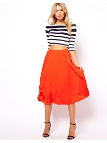 Full Midi Skirt - length: below the knee; pattern: plain; style: full/prom skirt; fit: loose/voluminous; waist detail: elasticated waist; waist: high rise; predominant colour: bright orange; occasions: casual, occasion, holiday; fibres: polyester/polyamide - 100%; texture group: sheer fabrics/chiffon/organza etc.; trends: fluorescent, volume; pattern type: fabric