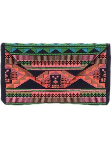 Aztec Embroidered Clutch Bag - occasions: evening, occasion; predominant colour: multicoloured; type of pattern: heavy; style: clutch; length: hand carry; size: small; material: fabric; embellishment: embroidered; trends: statement prints; finish: plain; pattern: patterned/print
