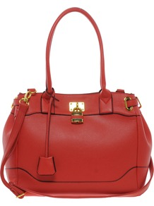 Bag With Side Straps And Metal Keepers - predominant colour: true red; occasions: casual, work; style: shoulder; length: shoulder (tucks under arm); size: standard; material: faux leather; pattern: plain; finish: plain