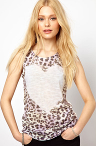 Love Heart Tank Top - neckline: round neck; sleeve style: sleeveless; style: vest top; predominant colour: chocolate brown; occasions: casual; length: standard; fibres: polyester/polyamide - 100%; fit: body skimming; sleeve length: sleeveless; pattern type: fabric; pattern size: small & busy; pattern: animal print; texture group: jersey - stretchy/drapey