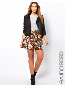 Curve Skater Skirt In Floral - length: mid thigh; fit: loose/voluminous; waist detail: twist front waist detail/nipped in at waist on one side/soft pleats/draping/ruching/gathering waist detail; waist: mid/regular rise; occasions: casual, evening; style: a-line; fibres: polyester/polyamide - mix; predominant colour: multicoloured; trends: high impact florals; pattern type: fabric; pattern size: small &amp; busy; pattern: florals; texture group: jersey - stretchy/drapey