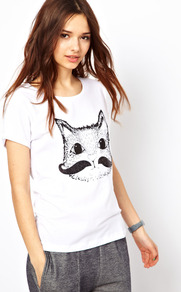 Cat Moustache Tee - neckline: round neck; style: t-shirt; predominant colour: white; occasions: casual; length: standard; fibres: cotton - 100%; fit: body skimming; sleeve length: short sleeve; sleeve style: standard; pattern type: fabric; pattern size: small & busy; pattern: patterned/print; texture group: jersey - stretchy/drapey