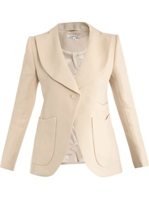 Panama Woven Straw Jacket - pattern: plain; style: single breasted blazer; collar: wide lapels; predominant colour: ivory; occasions: work; length: standard; fit: tailored/fitted; fibres: linen - 100%; waist detail: fitted waist; sleeve length: long sleeve; sleeve style: standard; collar break: medium; pattern type: fabric; pattern size: standard; texture group: woven light midweight