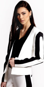 Boutique Rosie Monochrome Tuxedo Jacket - pattern: plain; style: single breasted blazer; collar: shawl/waterfall; length: cropped; predominant colour: white; occasions: evening, occasion; fit: tailored/fitted; fibres: polyester/polyamide - 100%; sleeve length: long sleeve; sleeve style: standard; collar break: low/open; pattern type: fabric; pattern size: standard; texture group: woven light midweight
