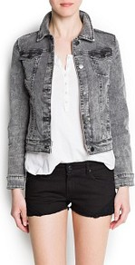 Denim Jacket - pattern: plain; style: denim; fit: slim fit; predominant colour: mid grey; occasions: casual; length: standard; fibres: cotton - stretch; collar: shirt collar/peter pan/zip with opening; sleeve length: long sleeve; sleeve style: standard; texture group: denim; collar break: high; pattern type: fabric