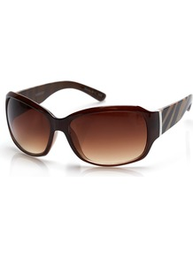 Brown Zebra Print Sunglasses - predominant colour: chocolate brown; occasions: casual, holiday; style: square; size: standard; material: plastic/rubber; pattern: animal print; finish: plain