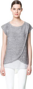 Crossover Top - neckline: round neck; sleeve style: capped; length: below the bottom; predominant colour: silver; occasions: casual, evening, work; style: top; fibres: polyester/polyamide - mix; fit: straight cut; back detail: longer hem at back than at front; sleeve length: short sleeve; texture group: knits/crochet; pattern type: fabric; pattern size: standard; pattern: patterned/print; embellishment: sequins