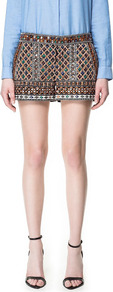 Embroidered Shorts With Stones - style: shorts; length: short shorts; waist: mid/regular rise; predominant colour: chocolate brown; occasions: casual, evening, occasion; fibres: cotton - 100%; texture group: sheer fabrics/chiffon/organza etc.; fit: straight leg; pattern type: fabric; pattern size: small &amp; busy; pattern: patterned/print; embellishment: embroidered
