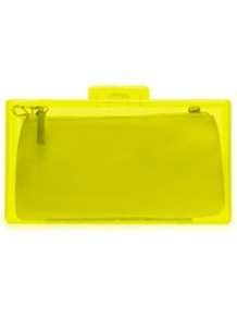 Neon Box Clutch - predominant colour: lime; occasions: evening, occasion, holiday; style: clutch; length: hand carry; size: small; material: plastic/rubber; embellishment: zips; pattern: plain; trends: fluorescent; finish: fluorescent