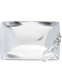 Metallic Clutch Bag - predominant colour: silver; occasions: evening, occasion, holiday; style: clutch; length: hand carry; size: small; material: faux leather; embellishment: zips; pattern: plain; trends: metallics; finish: metallic
