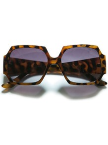 Hexagonal Sunglasses - predominant colour: tan; occasions: casual, work, holiday; style: square; size: large; material: plastic/rubber; pattern: tortoiseshell; finish: plain