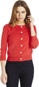 Limited Edition Diamanté Button Cardigan - neckline: round neck; pattern: plain; predominant colour: true red; occasions: casual, work; length: standard; style: standard; fibres: cotton - mix; fit: slim fit; sleeve length: 3/4 length; sleeve style: standard; texture group: knits/crochet; pattern type: knitted - fine stitch