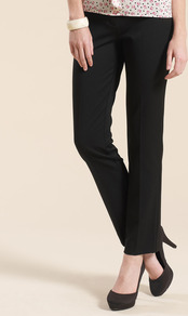 Bobby Cigarette Short Trousers - length: standard; pattern: plain; waist: mid/regular rise; predominant colour: black; occasions: casual, evening, work; fibres: polyester/polyamide - mix; hip detail: fitted at hip (bottoms); fit: straight leg; pattern type: fabric; pattern size: standard; texture group: woven light midweight; style: standard