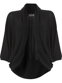 Cocoon Cardigan - sleeve style: dolman/batwing; pattern: plain; neckline: shawl; style: open front; predominant colour: black; occasions: casual, work; length: standard; fibres: acrylic - mix; fit: loose; sleeve length: 3/4 length; texture group: knits/crochet; pattern type: knitted - fine stitch; pattern size: standard