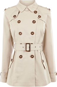 Belted Short Trench Coat - pattern: plain; length: below the bottom; style: double breasted; predominant colour: stone; occasions: casual, evening, work; fit: tailored/fitted; fibres: cotton - mix; collar: shirt collar/peter pan/zip with opening; waist detail: belted waist/tie at waist/drawstring; shoulder detail: discreet epaulette; sleeve length: long sleeve; sleeve style: standard; texture group: cotton feel fabrics; collar break: high; pattern type: fabric; pattern size: standard