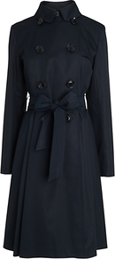 Classic Belted Trench Coat - pattern: plain; style: trench coat; length: on the knee; predominant colour: black; occasions: casual, evening, work; fit: tailored/fitted; fibres: cotton - 100%; collar: shirt collar/peter pan/zip with opening; waist detail: belted waist/tie at waist/drawstring; sleeve length: long sleeve; sleeve style: standard; texture group: cotton feel fabrics; collar break: high; pattern type: fabric; pattern size: standard