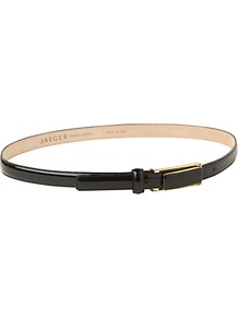 Patent Trouser Belt - predominant colour: black; occasions: casual, evening, work; style: classic; size: skinny; worn on: waist; material: leather; pattern: plain; finish: patent; embellishment: buckles