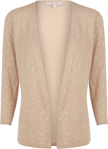 Brulee Sequin Cardigan - pattern: plain; neckline: collarless open; style: open front; predominant colour: gold; occasions: casual, evening, occasion; length: standard; fibres: cotton - mix; fit: standard fit; sleeve length: 3/4 length; sleeve style: standard; texture group: knits/crochet; pattern type: knitted - other; pattern size: standard; embellishment: sequins