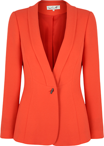 Sicily Jacket - pattern: plain; style: single breasted blazer; collar: standard lapel/rever collar; predominant colour: bright orange; occasions: evening, work, occasion; length: standard; fit: tailored/fitted; fibres: polyester/polyamide - stretch; waist detail: fitted waist; sleeve length: long sleeve; sleeve style: standard; texture group: crepes; trends: tuxedo; collar break: low/open; pattern type: fabric; pattern size: standard