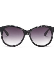 Mia Oversize Sunglasses - predominant colour: black; occasions: casual, holiday; style: round; size: large; material: plastic/rubber; pattern: tortoiseshell; finish: plain