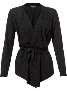Cashmere Silk Tie Cardigan - pattern: plain; style: belted; neckline: waterfall neck; predominant colour: charcoal; occasions: casual, work; length: standard; fibres: silk - mix; fit: slim fit; waist detail: belted waist/tie at waist/drawstring; sleeve length: long sleeve; sleeve style: standard; texture group: knits/crochet; pattern type: knitted - other; pattern size: standard