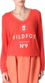 Love Potion Jumper - neckline: v-neck; style: standard; predominant colour: bright orange; occasions: casual; length: standard; fit: standard fit; bust detail: contrast pattern/fabric/detail at bust; sleeve length: long sleeve; sleeve style: standard; pattern type: fabric; pattern size: small & light; pattern: patterned/print; texture group: jersey - stretchy/drapey; fibres: viscose/rayon - mix