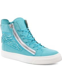 Rome Suede High Top Trainers - predominant colour: turquoise; occasions: casual, holiday; material: suede; heel height: flat; embellishment: studs; heel: wedge; toe: round toe; boot length: ankle boot; style: high top; finish: plain; pattern: plain