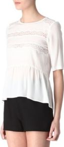 Eloge Top - neckline: round neck; pattern: plain; bust detail: added detail/embellishment at bust; waist detail: peplum waist detail; predominant colour: white; occasions: evening, work; length: standard; style: top; fibres: silk - 100%; fit: body skimming; back detail: longer hem at back than at front; sleeve length: half sleeve; sleeve style: standard; texture group: crepes; pattern type: fabric; pattern size: standard
