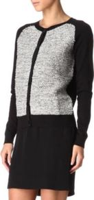 Gazouilli Cardigan - neckline: round neck; sleeve style: raglan; pattern: herringbone/tweed; predominant colour: black; occasions: casual; length: standard; style: standard; fibres: cotton - mix; fit: standard fit; bust detail: contrast pattern/fabric/detail at bust; sleeve length: long sleeve; pattern type: knitted - other; pattern size: standard; texture group: tweed - light/midweight
