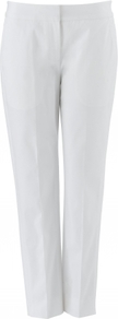 Hannah Trouser - pattern: plain; waist detail: fitted waist; pocket detail: small back pockets; waist: mid/regular rise; predominant colour: white; occasions: casual, work, holiday; length: ankle length; fibres: cotton - stretch; hip detail: fitted at hip (bottoms); texture group: cotton feel fabrics; fit: slim leg; pattern type: fabric; style: standard