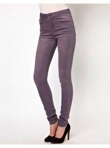 Ridley Supersoft High Waisted Ultra Skinny Jeans In Greyed Lavender - style: skinny leg; length: standard; pattern: plain; waist: high rise; pocket detail: traditional 5 pocket; predominant colour: lilac; occasions: casual, evening, work, holiday; fibres: cotton - stretch; texture group: denim; pattern type: fabric; pattern size: standard